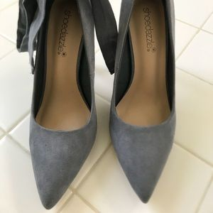 Shoedazzle Gray Pumps with Ankle Tie